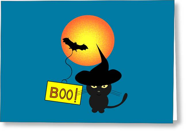 Cat Ready For Halloween Greeting Card by Coco Des
