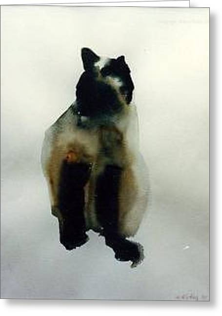 Cat Series 1 Greeting Card by Helen Hickey