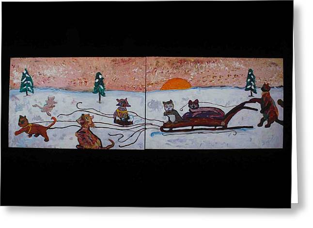 Cat Sled Team Greeting Card