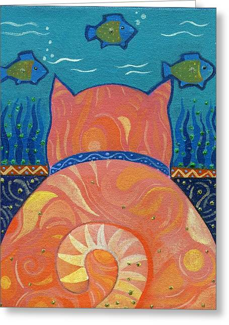 Cat Tales Greeting Card by Helena Tiainen