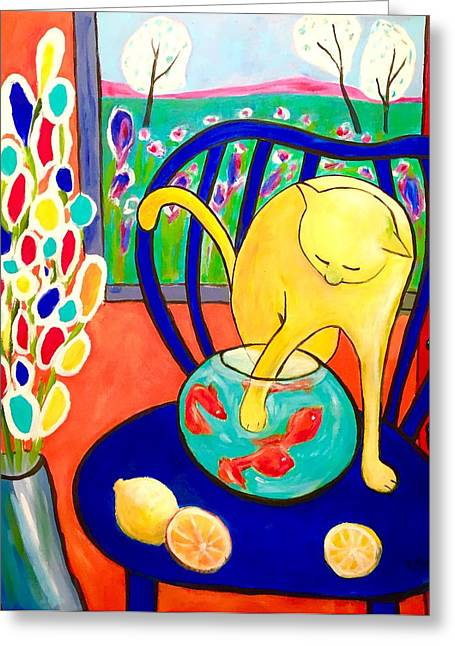 Cat - Tribute To Matisse Greeting Card