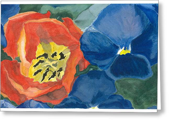 Greeting Card featuring the painting Cat Tulip by Joel Deutsch