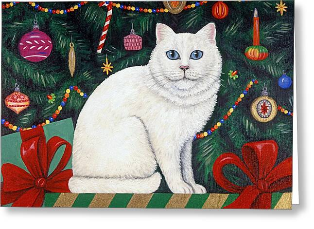 Cat Under The Christmas Tree Greeting Card by Linda Mears
