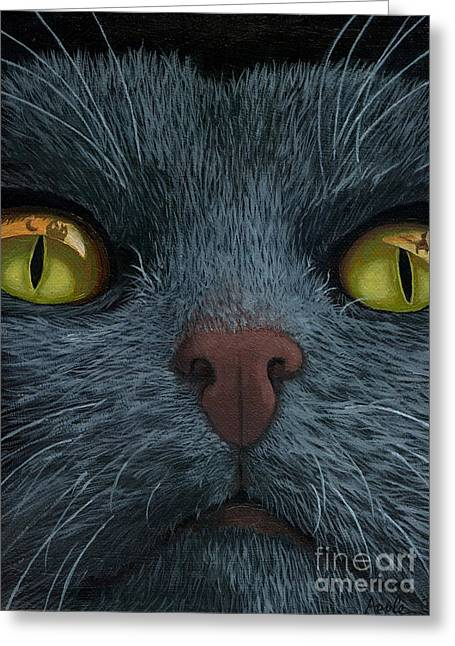 Cat Vision - Black Cat Oil Painting Greeting Card by Linda Apple