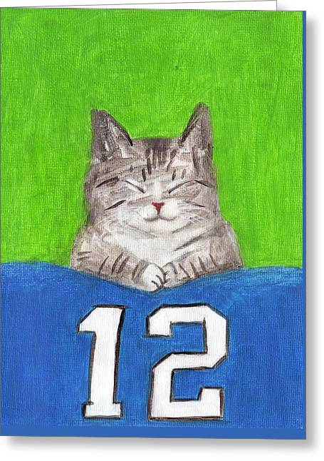 Cat With 12th Flag Greeting Card