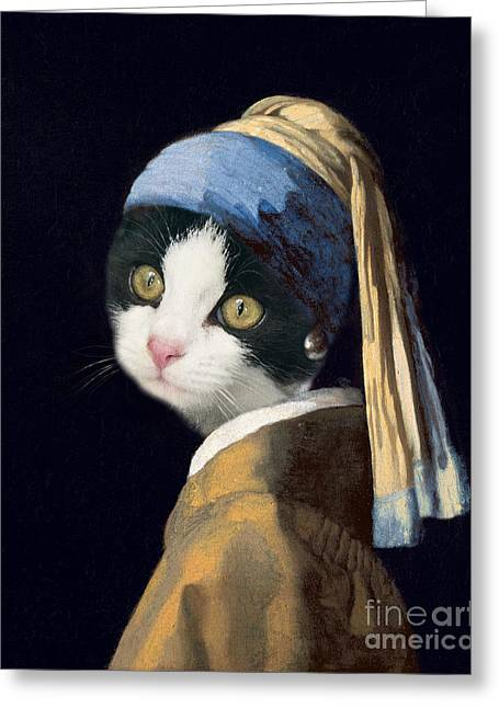 Cat With A Pearl Earring Greeting Card