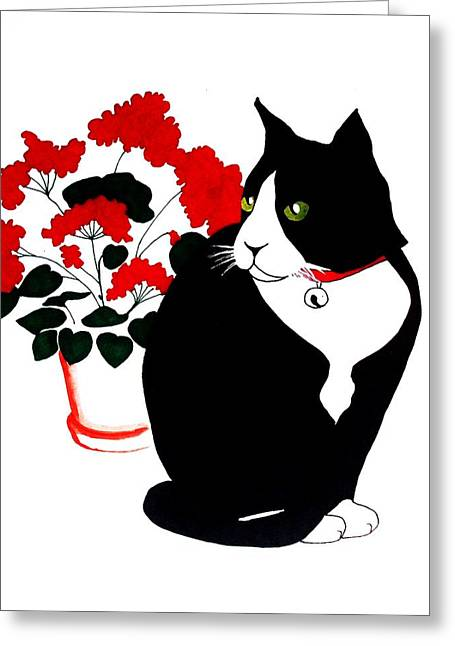 Red Geraniums Drawings Greeting Cards - Cat with Geraniums Greeting Card by Anita Stone
