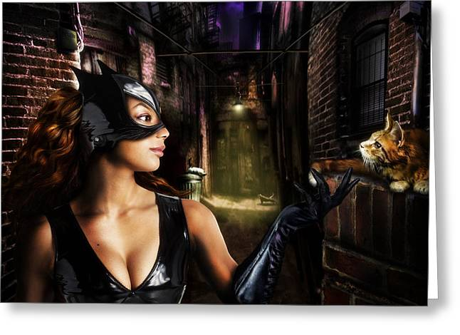 Cat Woman Greeting Card by Alessandro Della Pietra