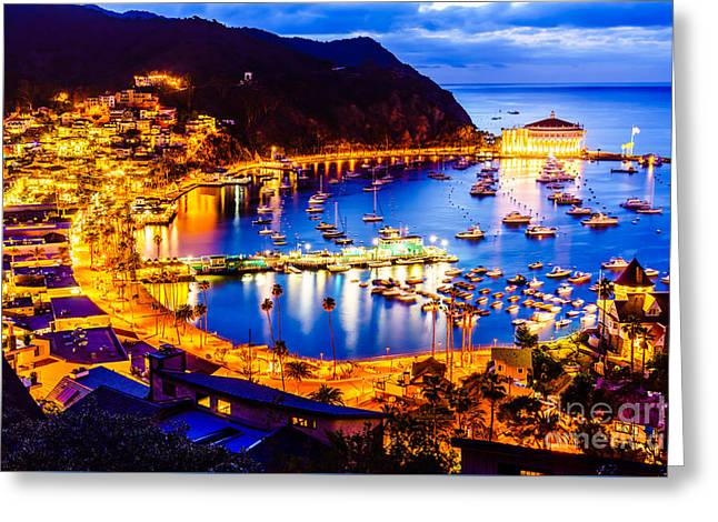 Catalina Island Avalon Bay At Night Greeting Card by Paul Velgos