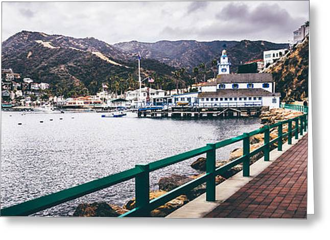 Catalina Island Avalon Bay Panorama Picture Greeting Card by Paul Velgos