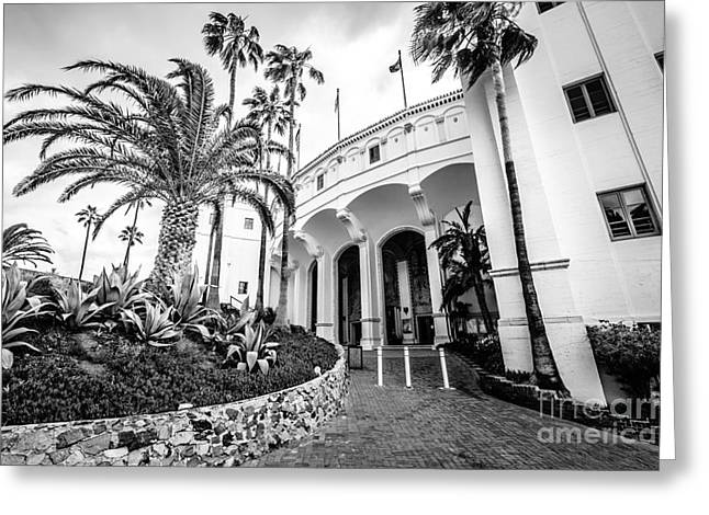 Catalina Island Casino Black And White Photo   Greeting Card by Paul Velgos