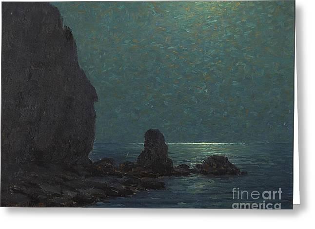 Catalina Island Coast Under A Moonlit  Greeting Card