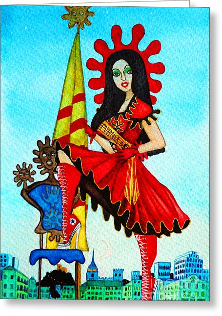 Greeting Card featuring the painting Catalan Girl In Converse by Don Pedro De Gracia