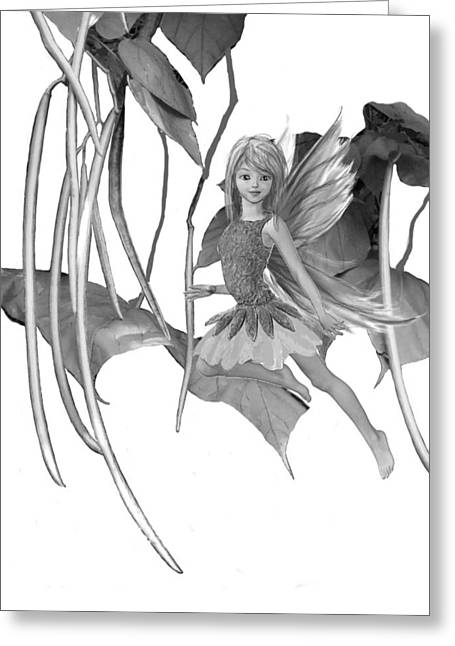 Catalpa Tree Fairy With Seed Pods B And W Greeting Card
