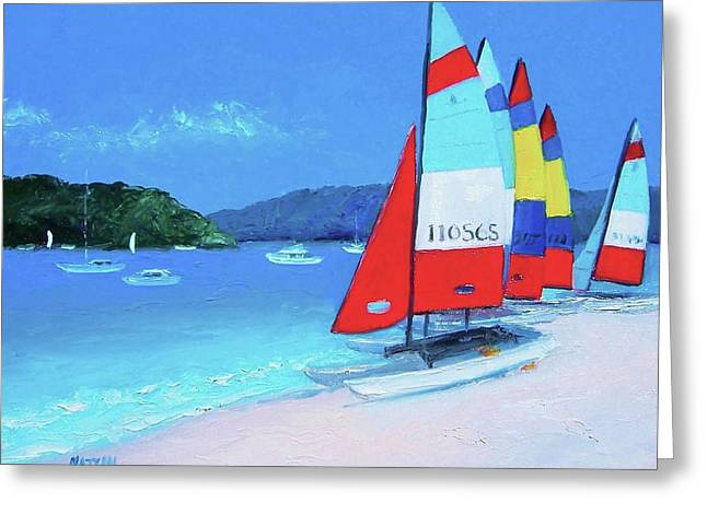 Catamarans Beach Painting Greeting Card