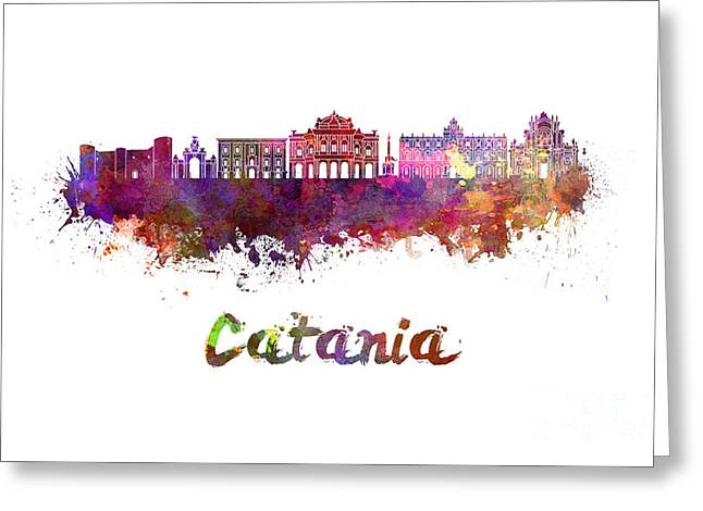 Catania Skyline In Watercolor Greeting Card
