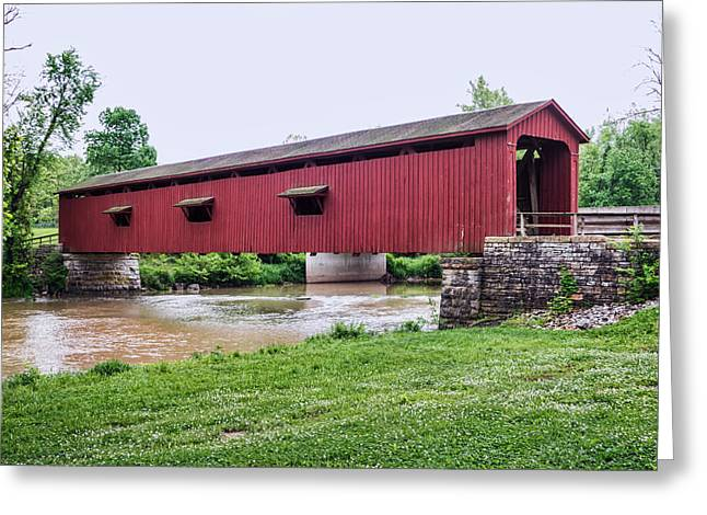 Cataract Falls Covered Bridge Greeting Card by Phyllis Taylor