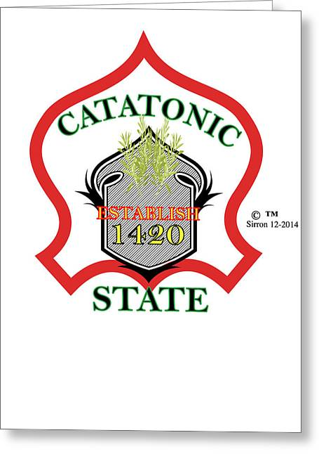Catatonic State Red Green Yellow Seal Greeting Card by Sirron Kyles