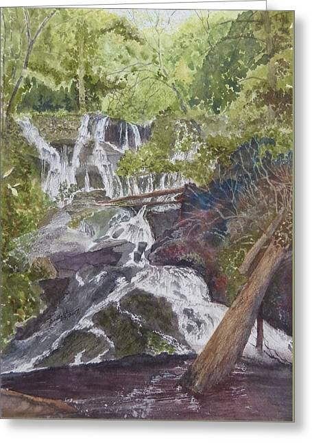 Greeting Card featuring the painting Catawba Falls - Working Notes by Joel Deutsch