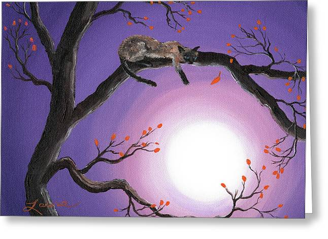 Surreal Landscape Greeting Cards - Catch a Falling Leaf Greeting Card by Laura Iverson
