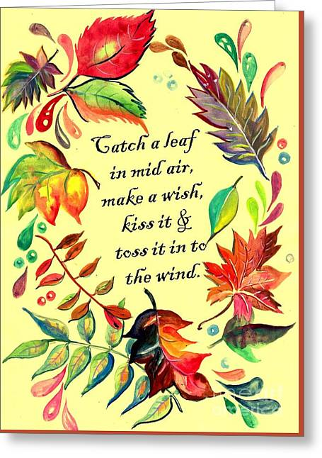 Catch A Leaf In Mid Air Greeting Card by Sweeping Girl