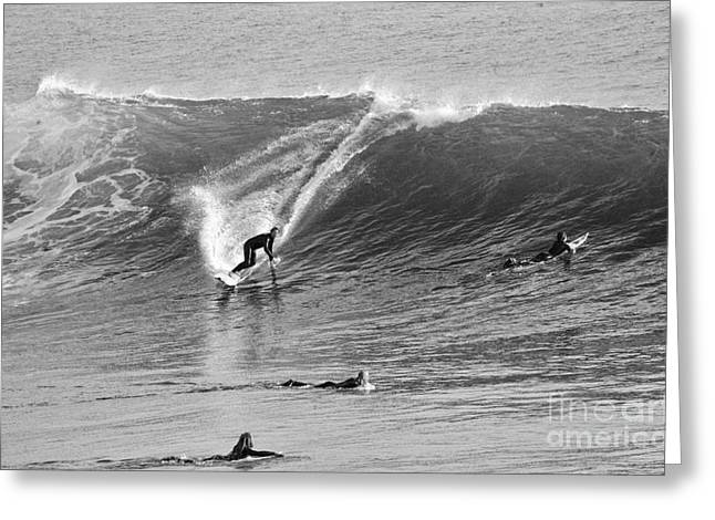 Catch A Wave Bw Greeting Card
