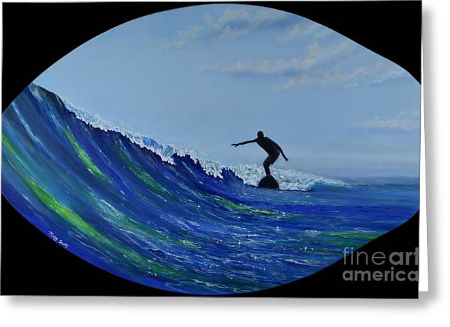 Greeting Card featuring the painting Catch A Wave by Mary Scott