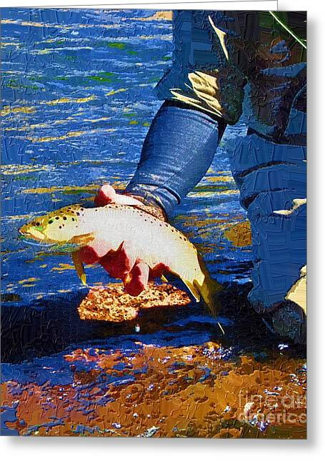 Catch And Release Greeting Card by Diane E Berry