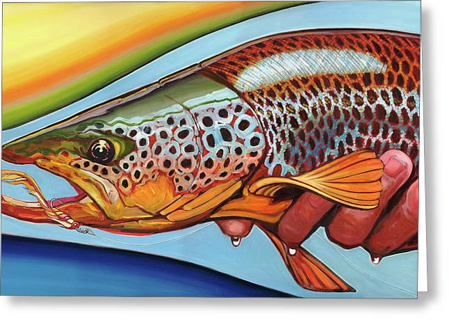 Rainbow Trout Greeting Cards - Catch and Release  Greeting Card by Emil F Major