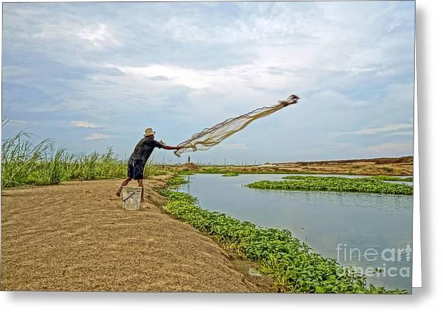 Catch Fish Greeting Card by Arik S Mintorogo