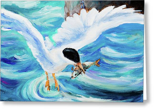 Greeting Card featuring the painting Catch by Igor Postash