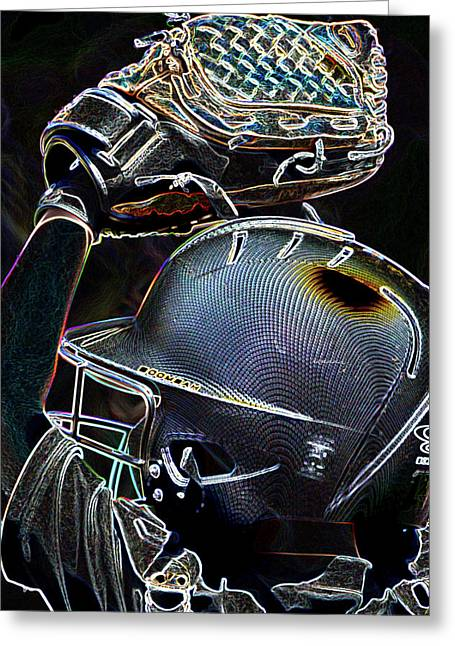 Catchers Pitch Neon Art Greeting Card by Lesa Fine