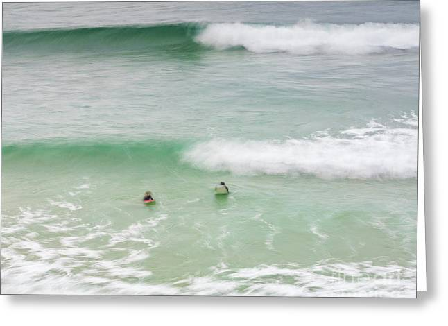 Catching A Wave Greeting Card by Tony Higginson
