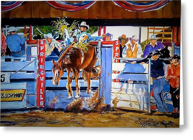 Catching Air At Springville Rodeo Greeting Card by Therese Fowler-Bailey