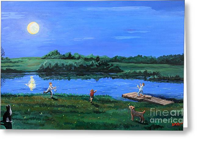 Catching Fireflies By Moonlight Greeting Card