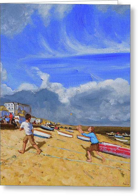 Catching The Ball, St Ives Greeting Card by Andrew Macara