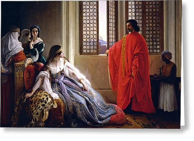 Caterina Cornaro Deposed From The Throne Of Cyprus Greeting Card by Francesco Hayez