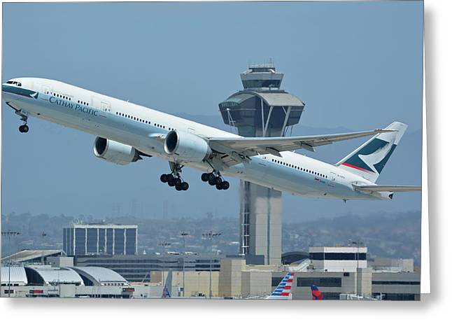 Greeting Card featuring the photograph Cathay Pacific Boeing 777-367er B-kph Los Angeles International Airport May 3 2016 by Brian Lockett