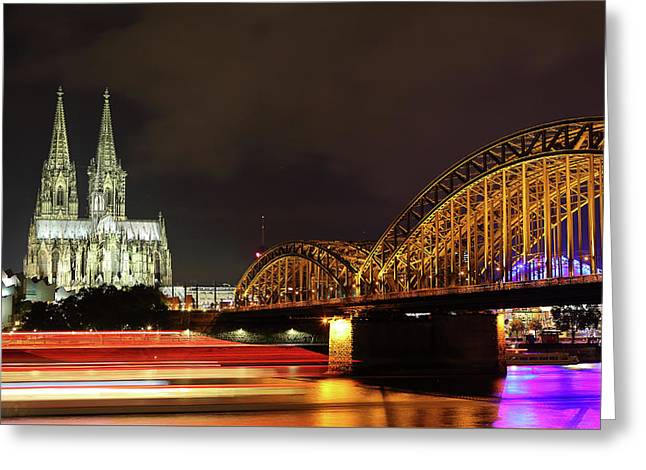Cathedral, Bridge And Boat In Cologne Greeting Card by Holger Ostwald