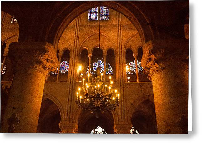Cathedral Chandelier Greeting Card by Mick Burkey