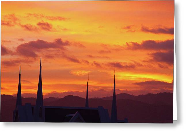Sunset Prints Greeting Cards - Cathedral Church Sunset Greeting Card by James BO  Insogna