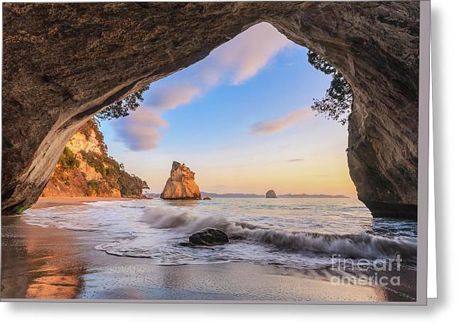Cathedral Cove At Dawn Greeting Card by Colin and Linda McKie