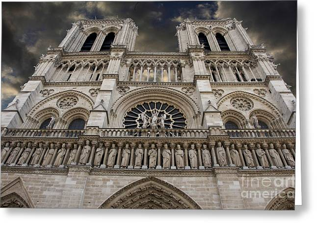 Sculptures Sculptures Greeting Cards - Cathedral Notre Dame of Paris. France   Greeting Card by Bernard Jaubert