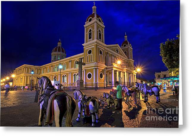 Cathedral Of Granada Shines Brightly Greeting Card