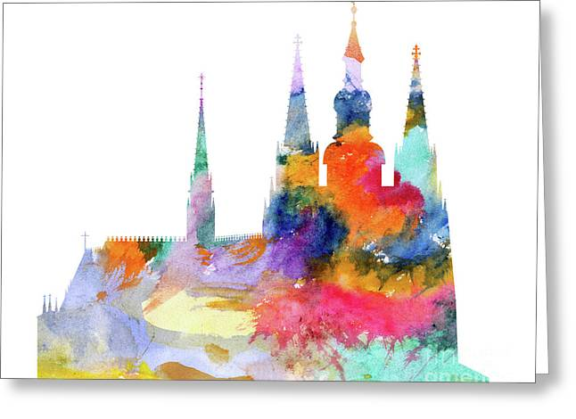 Cathedral Of Saint Vitus In The Prague Castle Watercolor Art Greeting Card