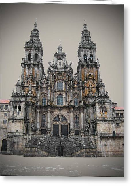 Medieval Temple Greeting Cards - Cathedral of Santiago de Compostela Greeting Card by Jasna Buncic