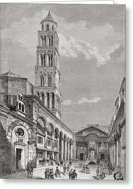 Cathedral Of St. Domnius In Cathedral Greeting Card by Vintage Design Pics