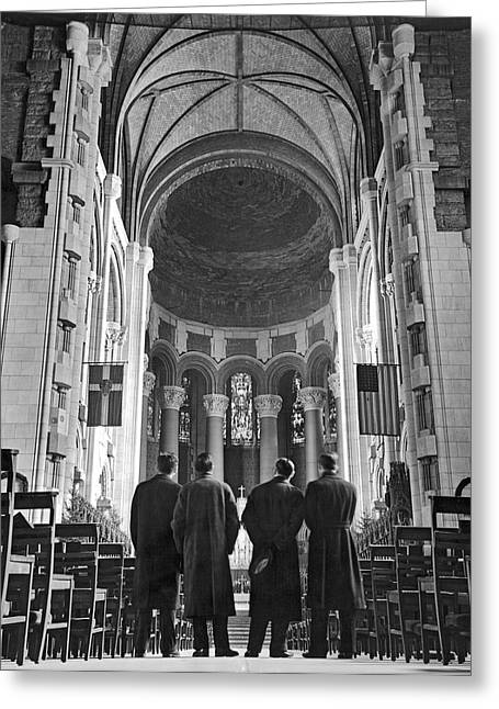 Cathedral Of St. John In Nyc Greeting Card by Underwood Archives