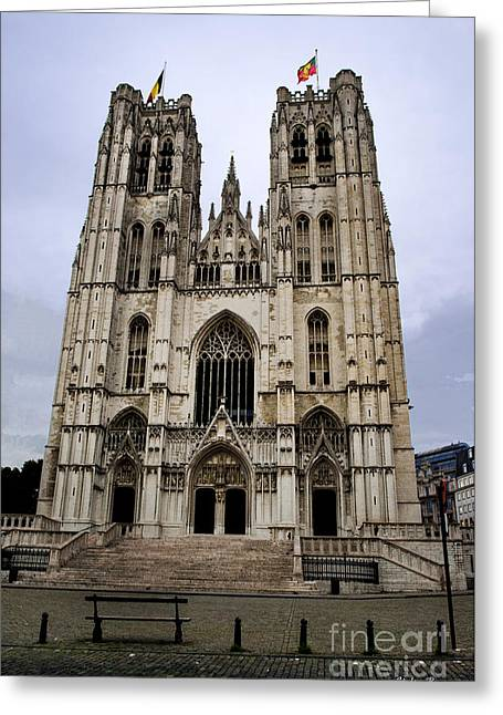 Cathedral Of St Michael And St Gudula Greeting Card