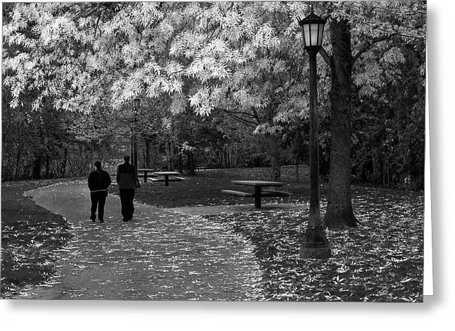 Cathedral Park In Fall Bw Greeting Card